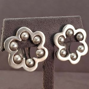 Taxco Mexico Sterling Ball Flower Earrings
